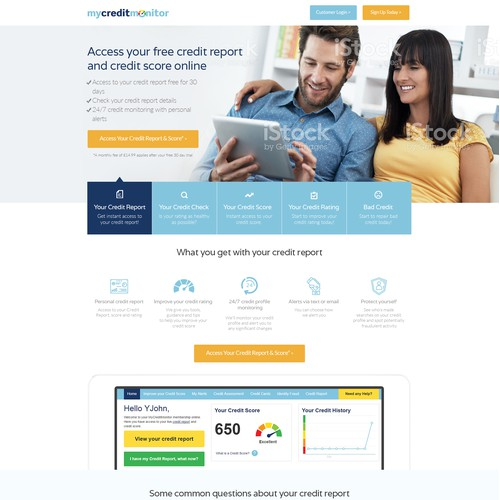 Landing Page for Credit Monitor Compnay