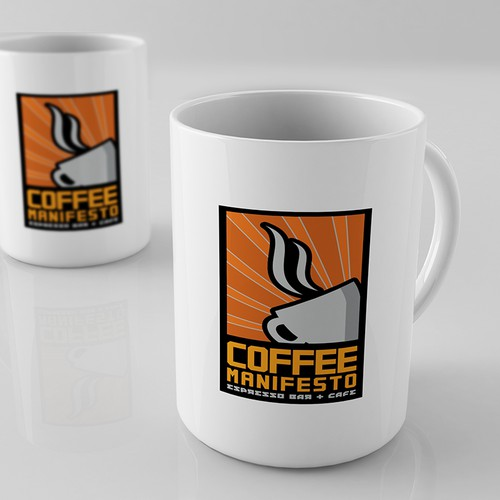 "Create a bold, modern ""propaganda"" style logo for Coffee Manifesto"