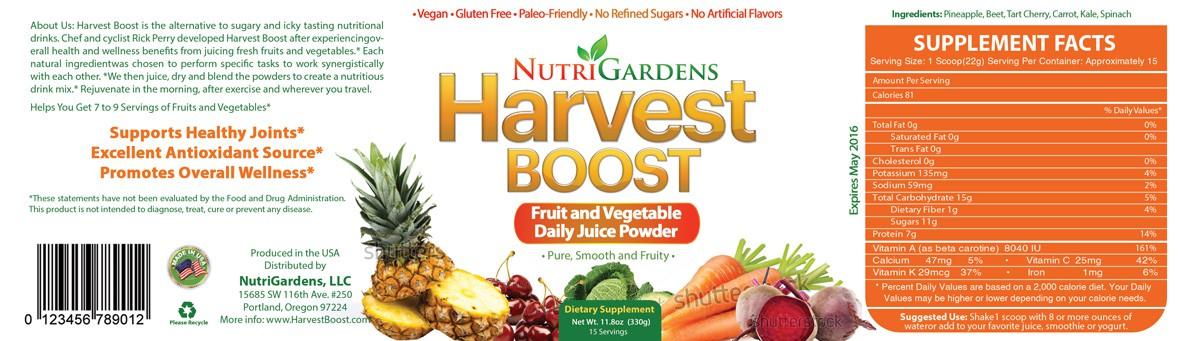 "Harvest Boost ""Rejuvenate"" Label: 100% pure fruit and veggie juice powder"