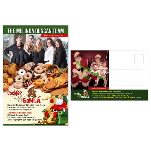 "Postcard Invitation to ""Cookies With Santa"" event for Real Estate Team"