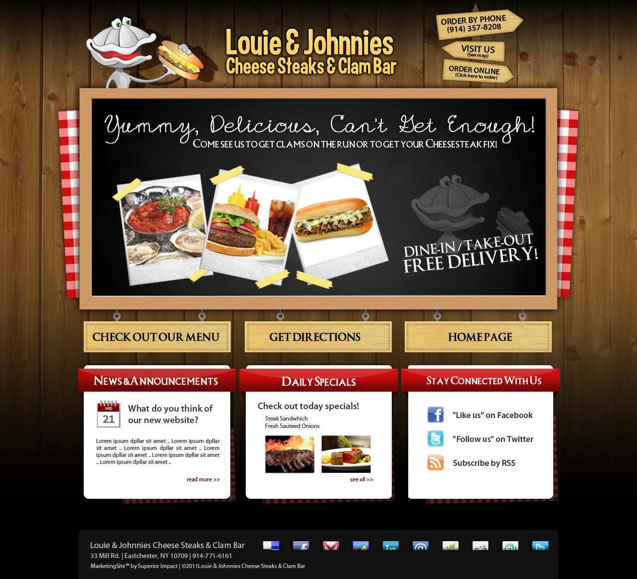 Fun Cartoon LOGO & WEBSITE Cheesesteak & Clam Bar: Loujon1 needs a new website design