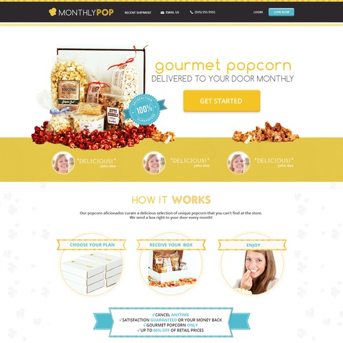 Design the look and feel of a gourmet popcorn club