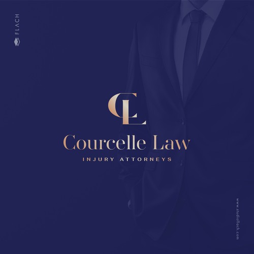 Modern sophisticated logo for a law firm representing victims of work injury.