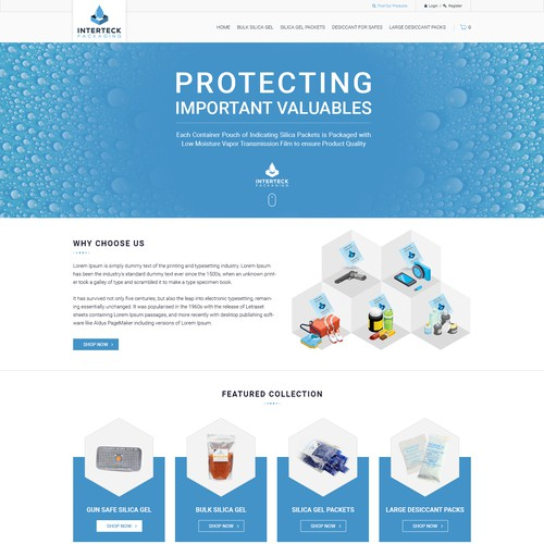 Website Design, Colorful simple graphics, Desiccant/Silica Gel products (Dehumidifying)