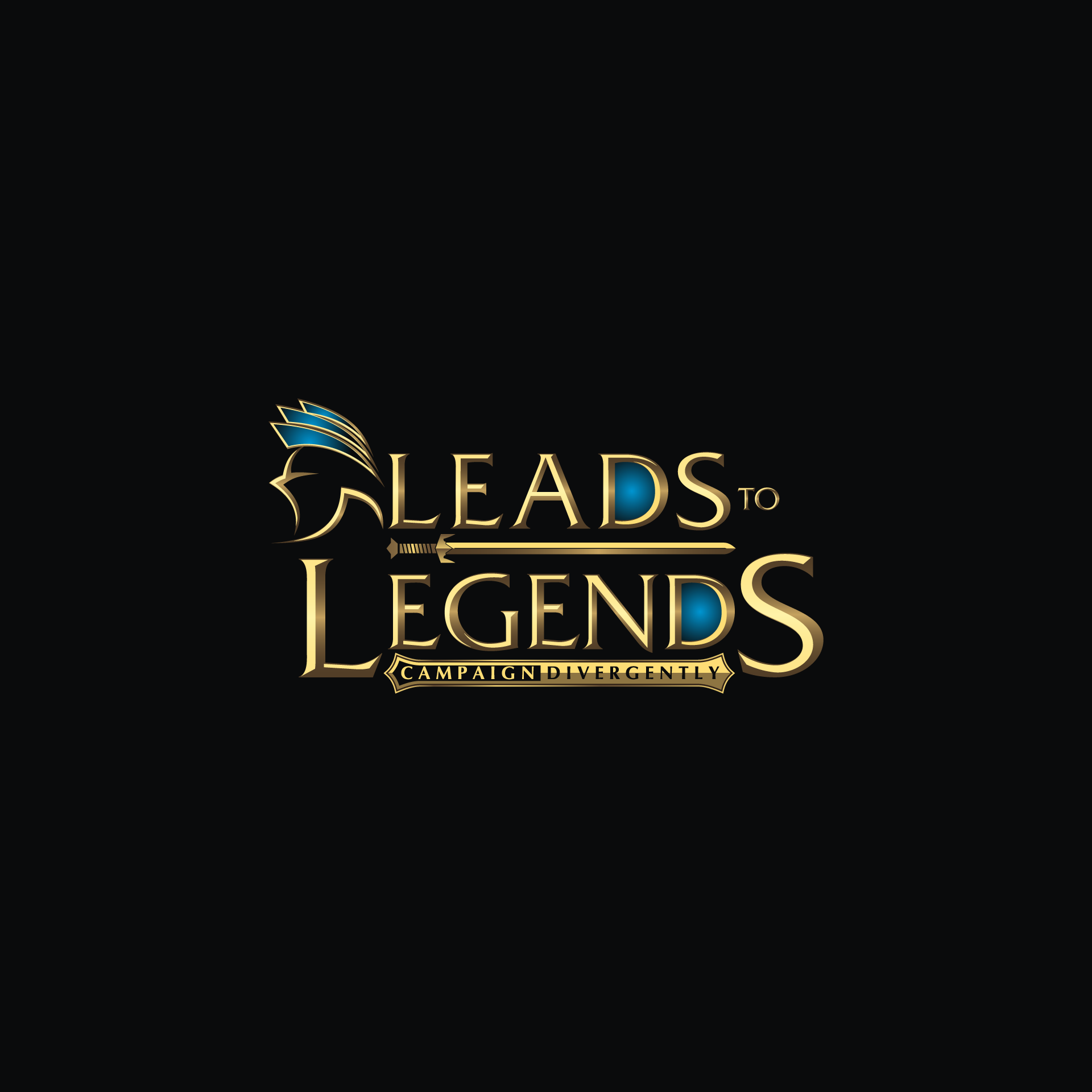 Create a modern, fantasy themed logo for copywriting consultancy Leads to Legends