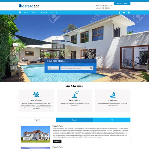 Re-design with a Fresh, modern and Clean page for estateace