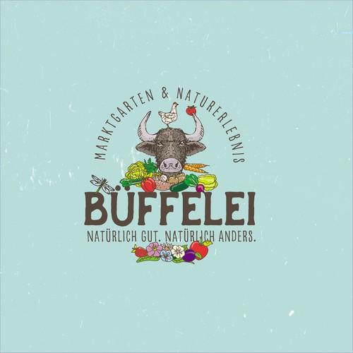 Logo für Marktgarten und Naturerlebnisse mit Wasserbüffeln!