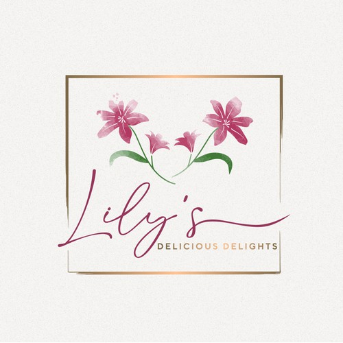 An elegant watercolour lily flower inspired logo design for a high end charcuterie boards brand