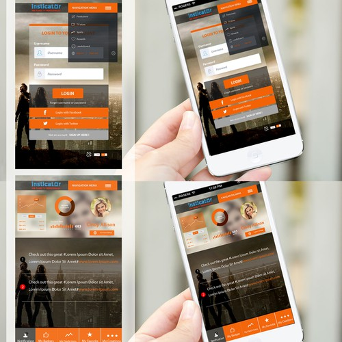 Mobile design for insticator.com