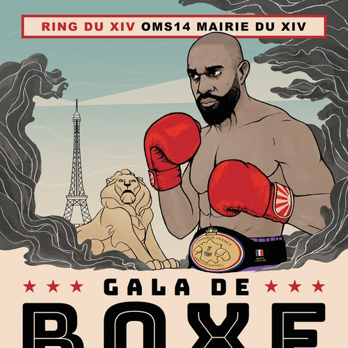 Illustrated Poster for Boxing Event in Paris