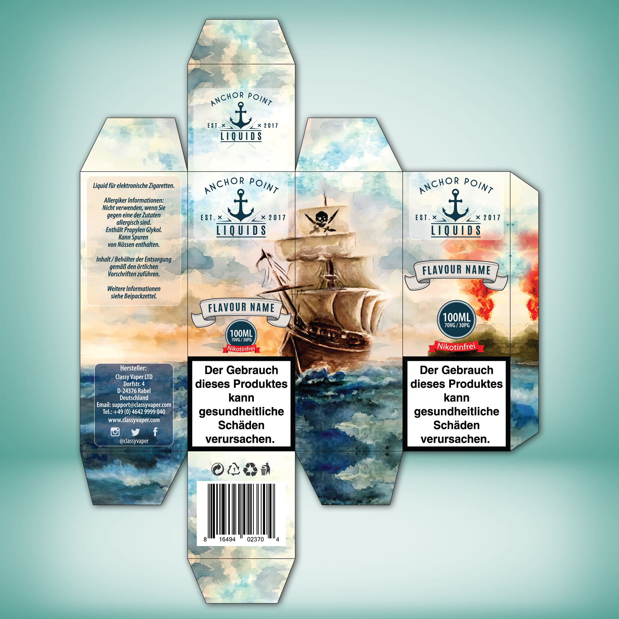 Anchor Point Liquids Verpackungsdesign.