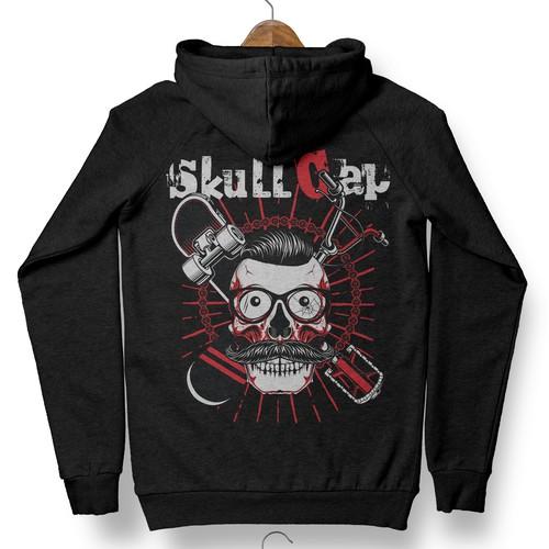 Skull Cap Sk8 Hoodie Design