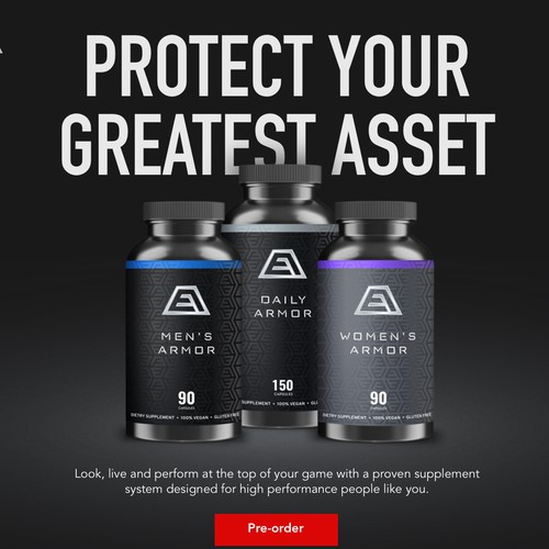 Landing page for health supplements