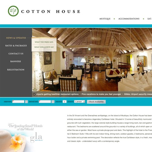 website design for a exclusive high class hotel in the caribbean