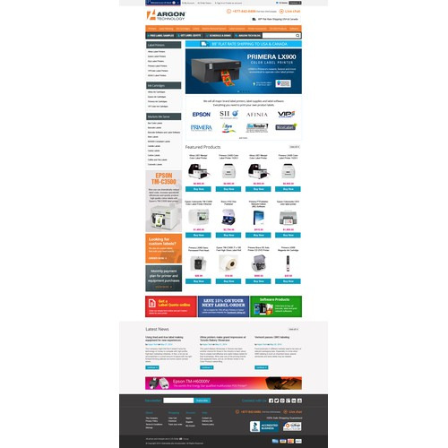 ArgonStore.com New Design for Bigcommerce.com Online Store