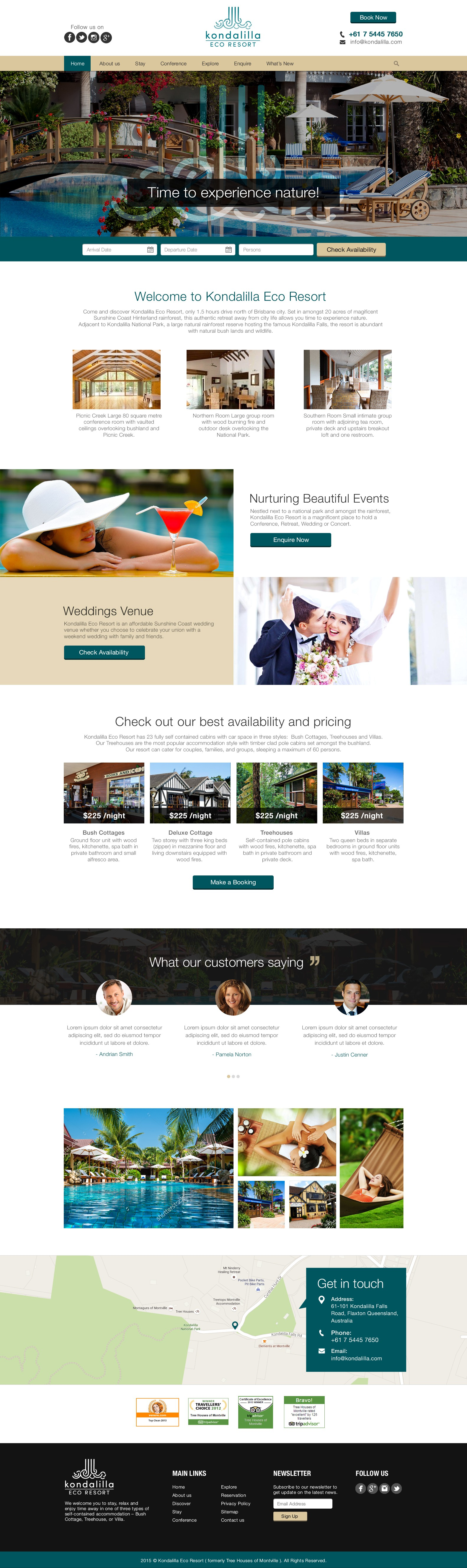Create a New website design for new business Kondalilla Eco Resort, but old hotel