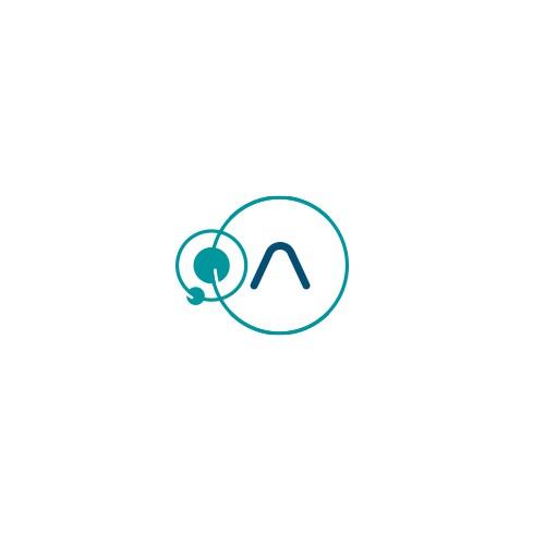 Satellite communications space themed logo