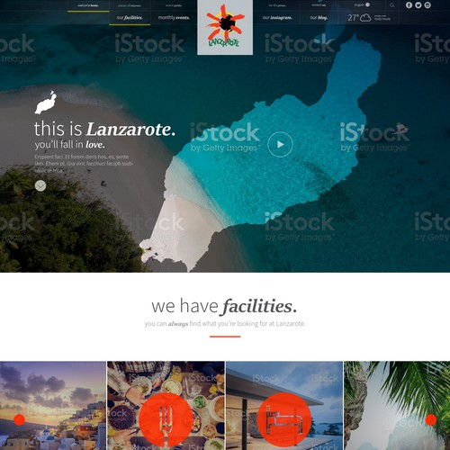 Tourism website concept for Tourism Lanzarote.