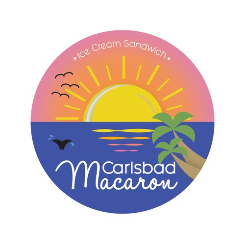 Beachy sticker design for California-based sweet shop
