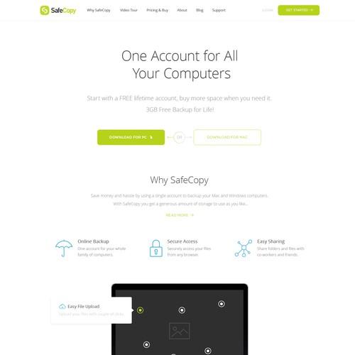 Website Concept for SafeCopy Backup