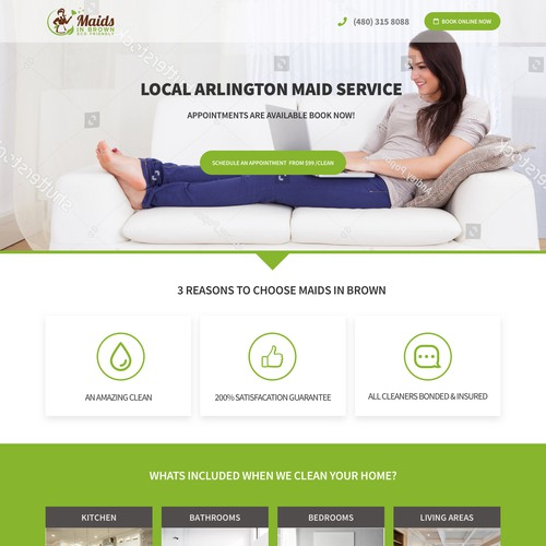 Landing Page for Home CLeaning / Maid Service