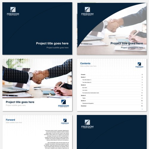 Powerpoint presentation template for a business and consulting agency