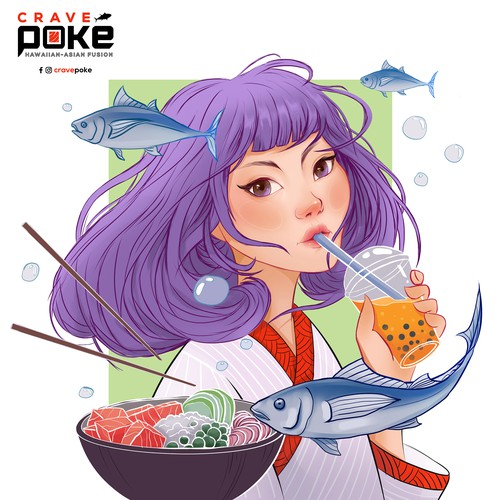 Wall Art for Poké/Bubble Tea/Hawaiian-Asian Fusion restaurant
