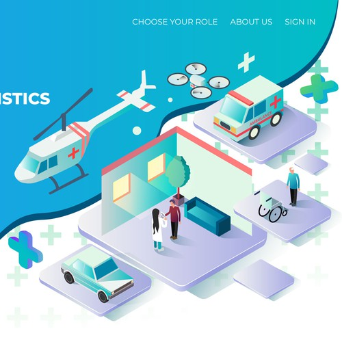 Isometric Illustration Header For Health Care Logistics