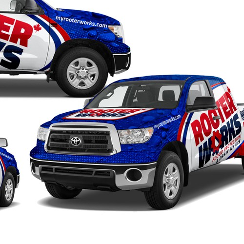 Attention grabbing truck wrap design is needed for RooterWorks