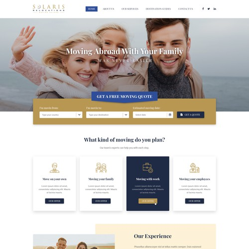 Web design concept for an international relocations company.