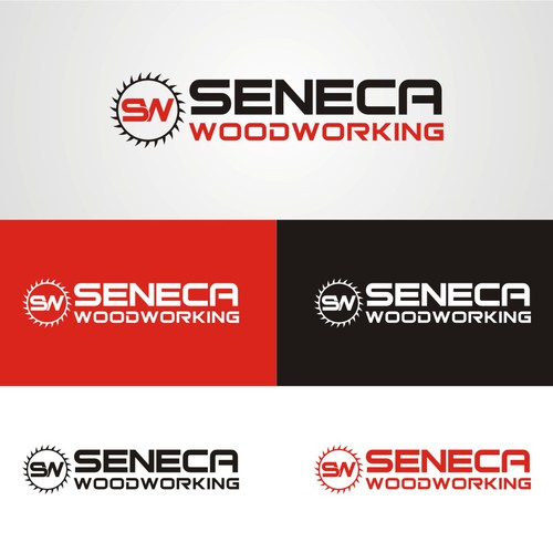 logo and business card for Seneca Woodworking