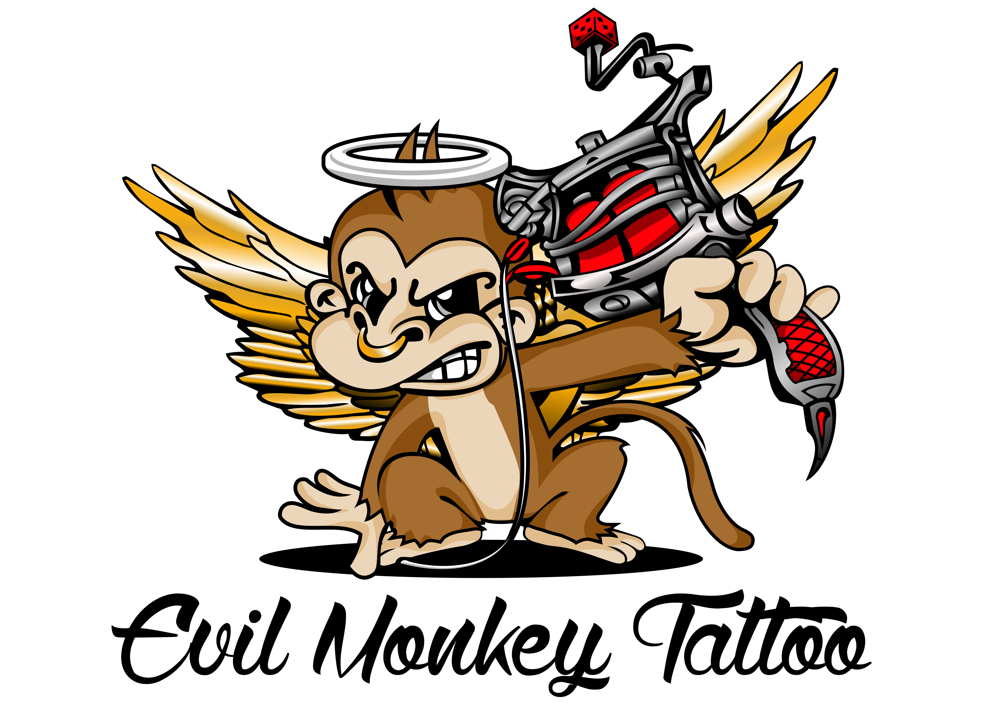 Evil Monkey Tattoo Logo and Artwork