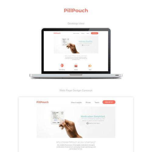 PillPouch website design concept.