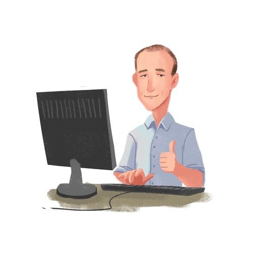 Create a bold, fun cartoon of me at a computer!