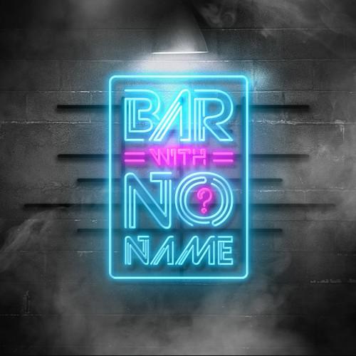 Neon style logo concept for bar