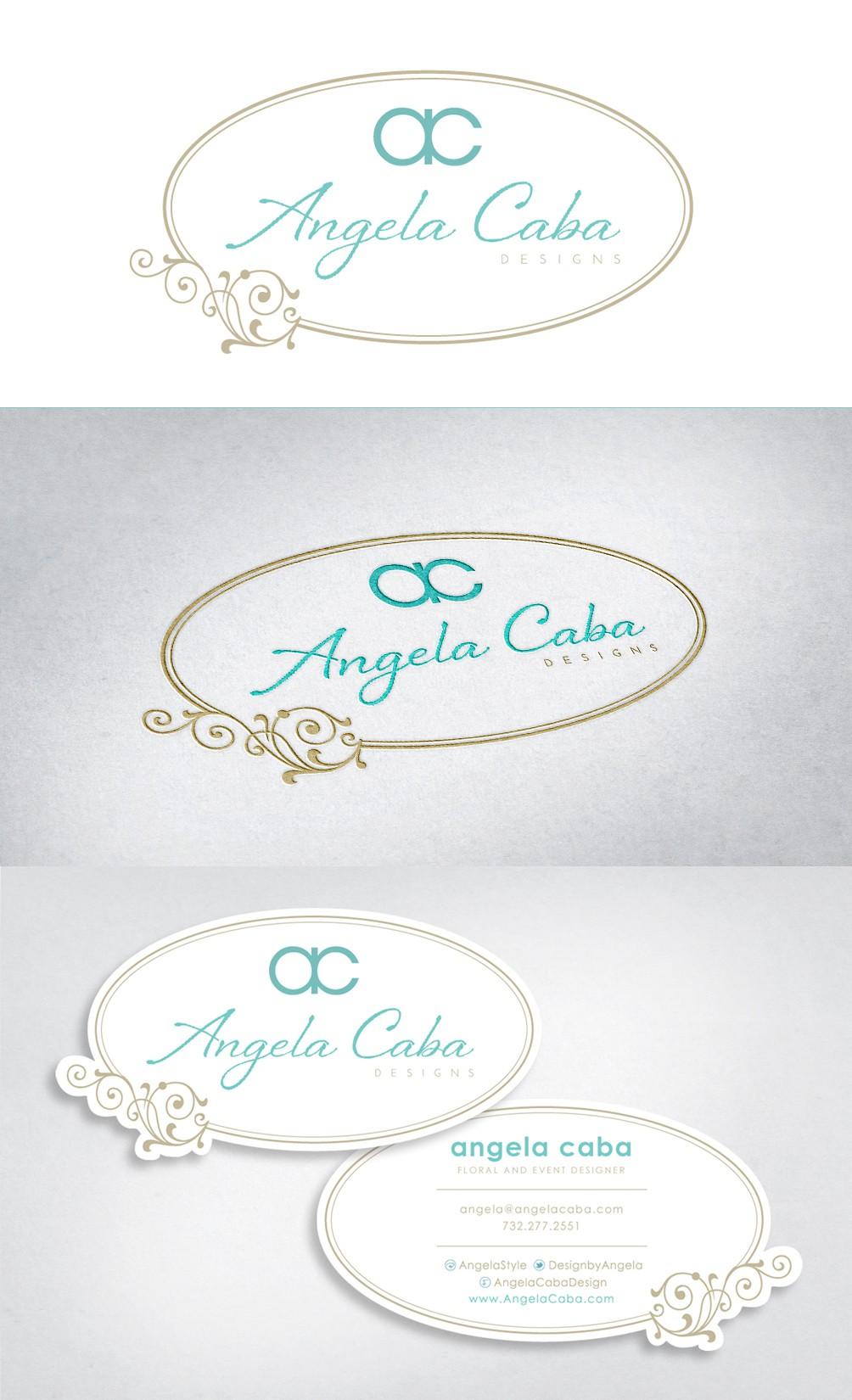 logo and business card for Angela Caba Design