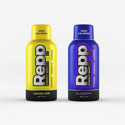 Colorful label design for energy shot