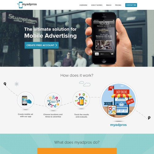 Create website for new cutting edge mobile advertising technology for small businesses