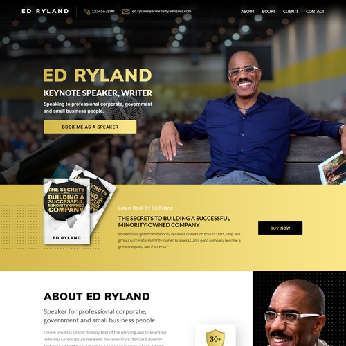 ED RYLAND needs his personal branding website promoting books and speaking.