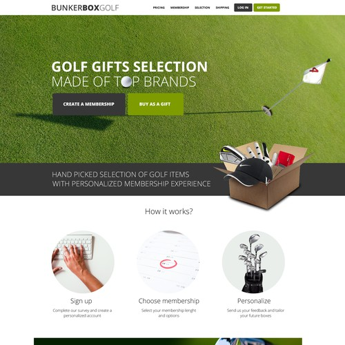 Golf Subscription Box Website