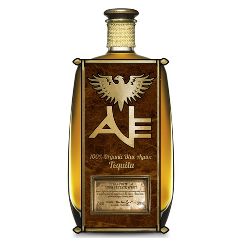 AVE tequila label and bottle design