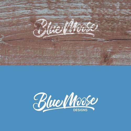Custom Hand-Lettered Logo for Blue Moose Designs