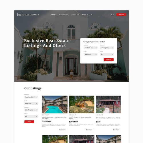 Clean white real estate website