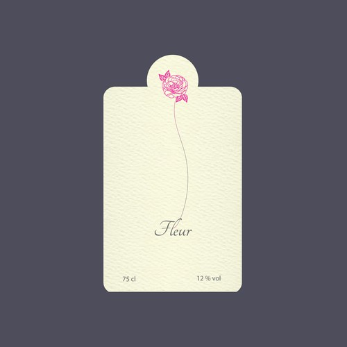 Label concept for Rose Wine named Fleur