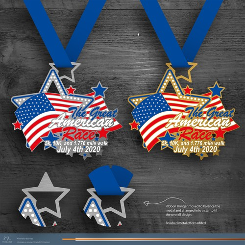 Bright colourful race finishers medal
