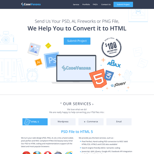 Landing page design for psd to html services website