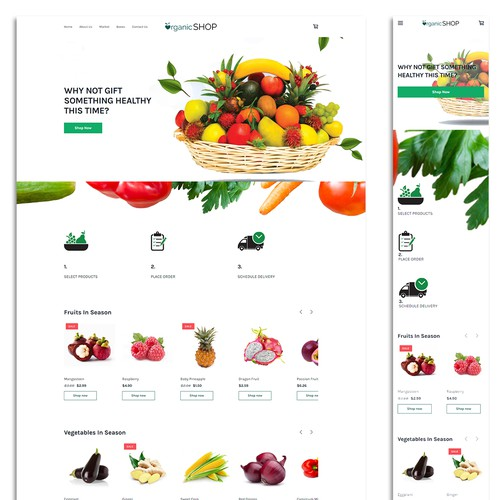 Ecommerce website for an organic shop