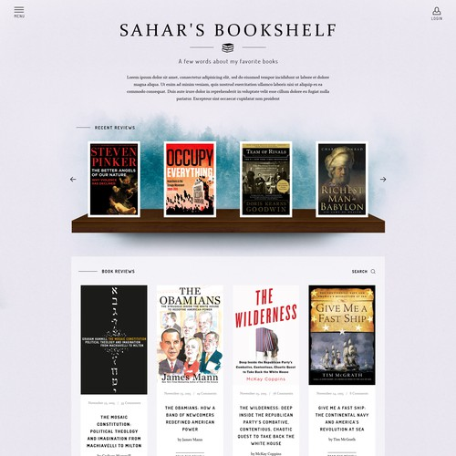 Blog design for a book reviewer