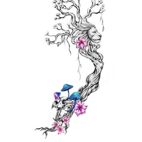 Lion Skull and Tree Tattoo Design