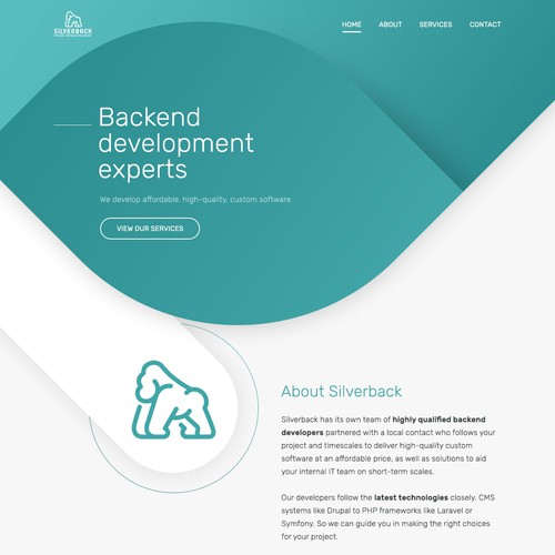 Modern design for a backend development company